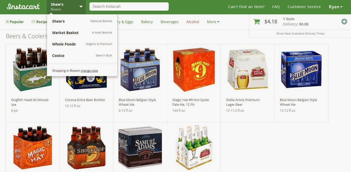 Screenshot of Instacart's Website