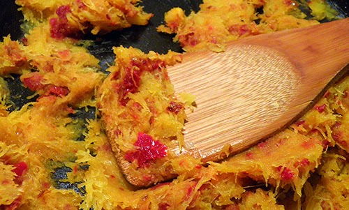 Closeup of Squash mashed with Sundried Tomatoes and Shallots