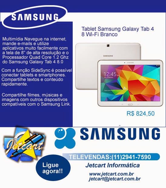 Tablet Samsung é na Jetcart
