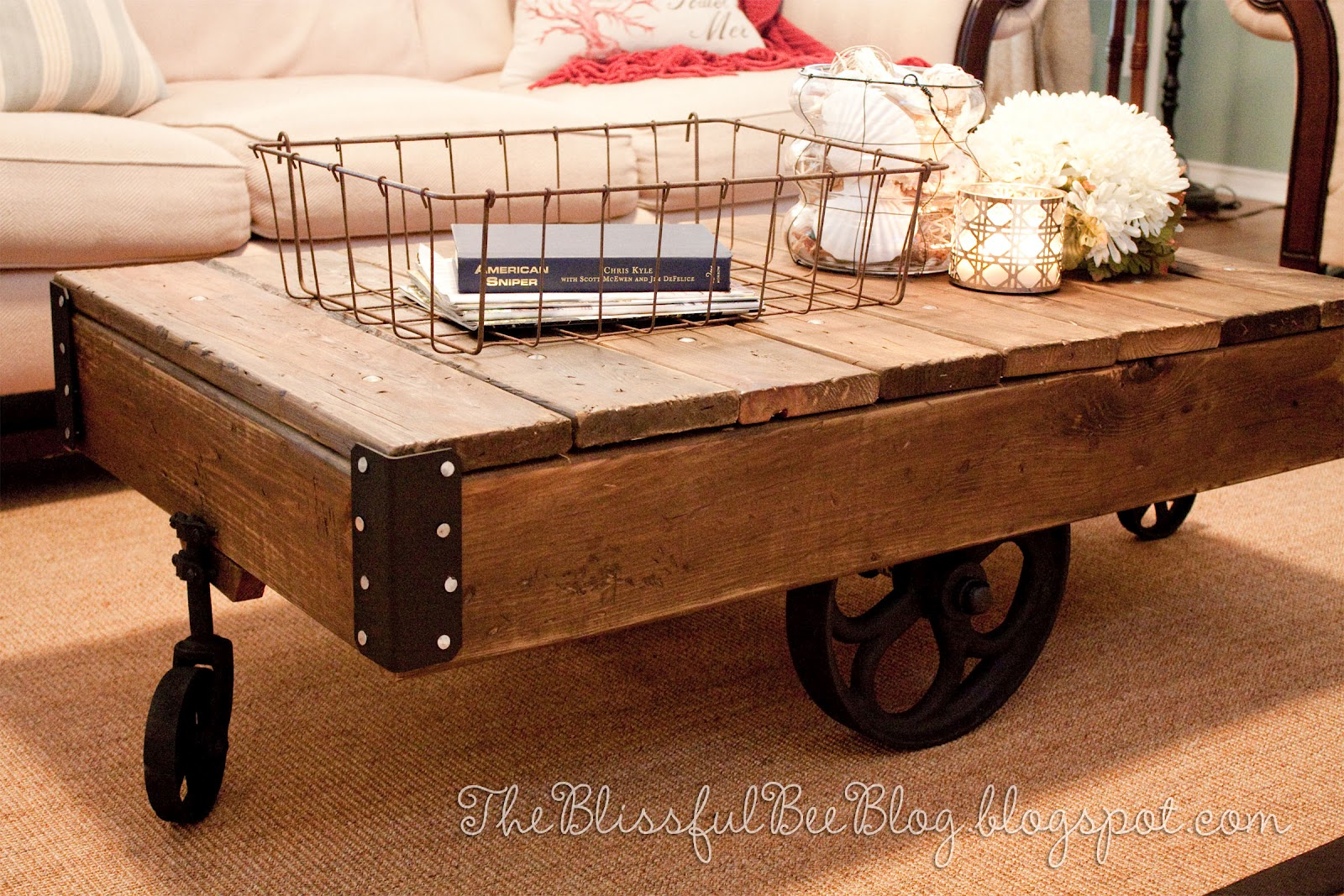 Factory Cart Table DIY { Restoration Hardware Inspired } U2013 THE BLISSFUL BEE