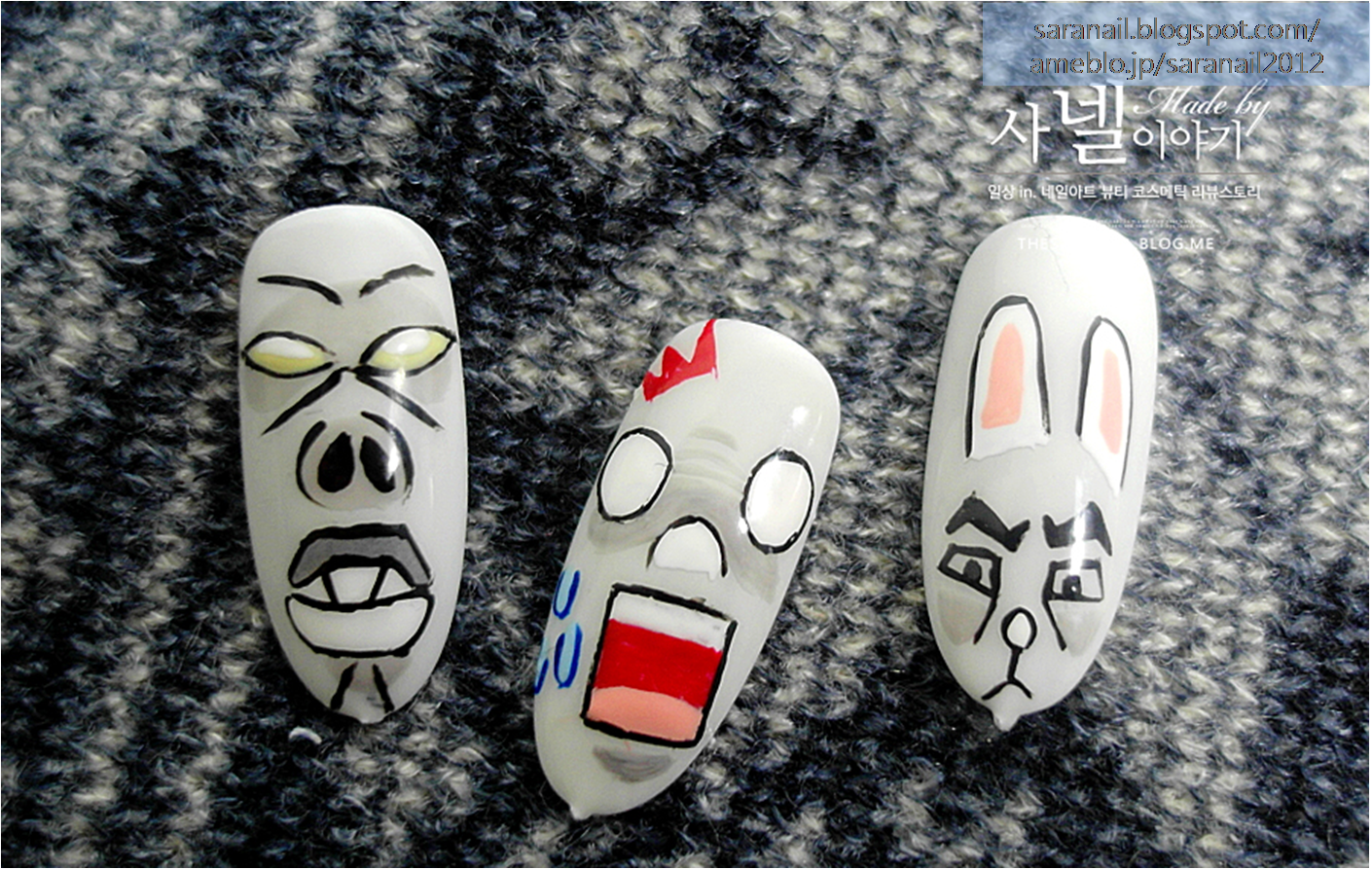 Emoticon Pattern Nail Art/ Self Nail Art/ Line Emoticon Nail Art/ Cute Rabbit Character/ Funny Emoticon