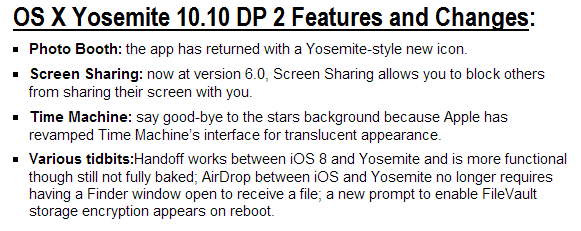 Mac OS X Yosemite 10.10 Developer Preview 2 Features and Changes