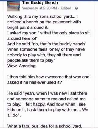 """Ξέρεις τι είναι το """"buddy bench""""; Ή αλλιώς """"παγκάκι φίλου""""!"""