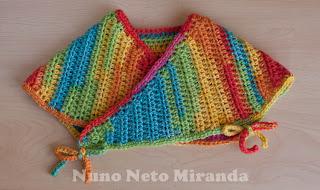 "alt=""Mommy's Hugs Shrug, crochet baby Shrug, crochet free pattern, instruções passo a passo, romeirnha crochet, bebé, Ice Yarns Baby Wool Print"""