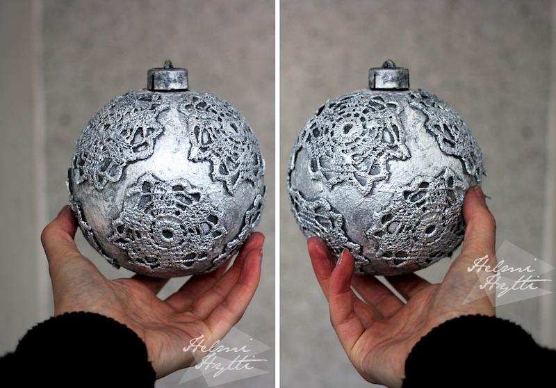 hopeinen pitsinen joulukuusenkoriste diy