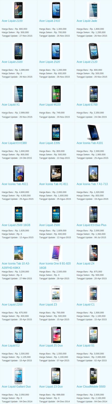 Daftar Harga Hp Acer November 2015
