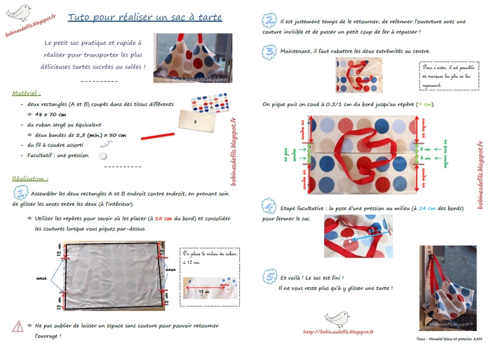 Tuto sac à tarte K / bobinesdefils.blogspot.fr