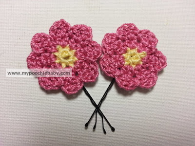 crochet flower hairpin