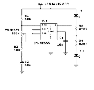 This Is The Standard Operation Of A 555 Timer When Vcc 5 V To 15 DC Applied Circuit LED Will Start Flash