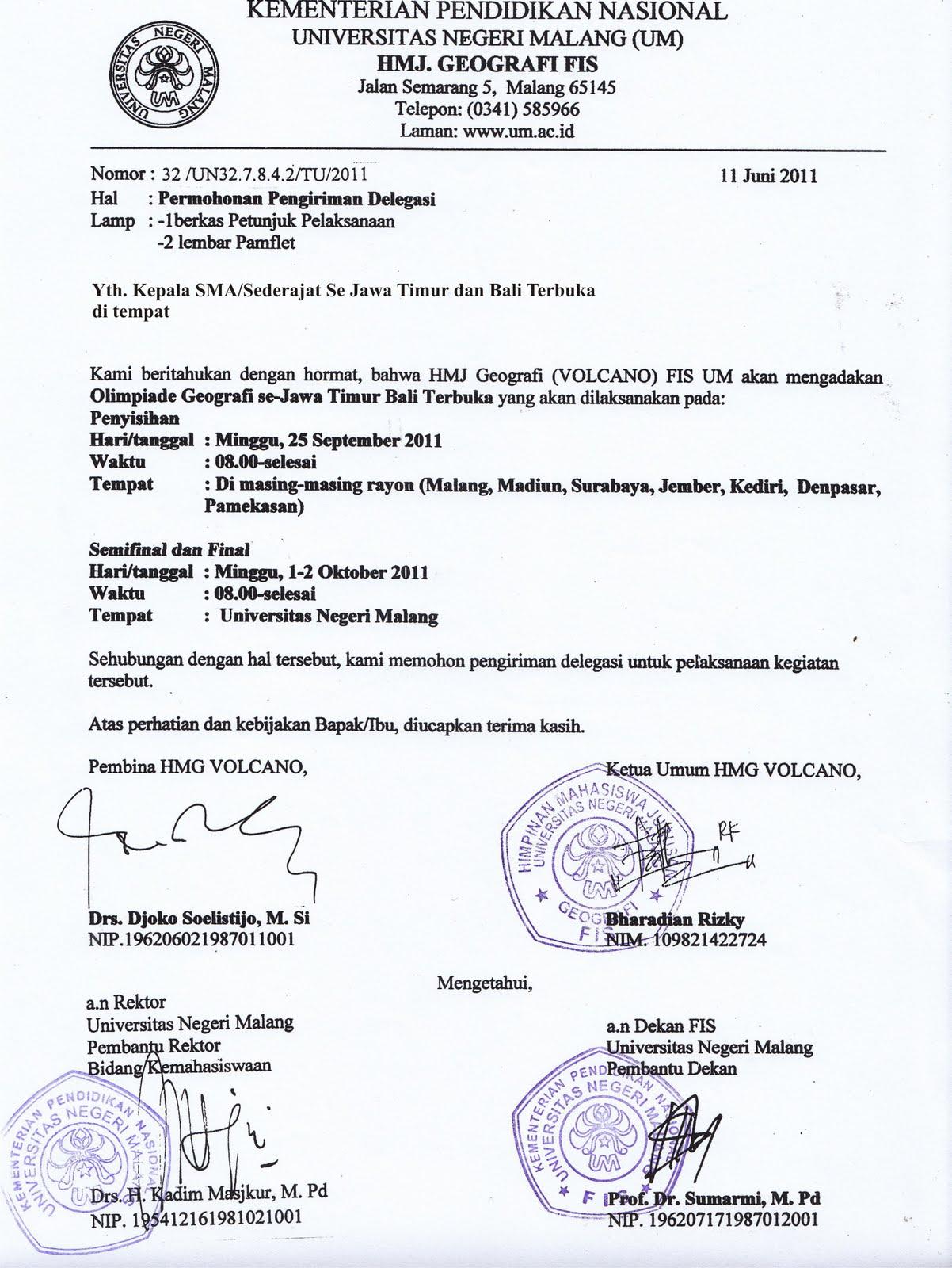 Surat Undangan Delegasi Olimpiade Geografi 2011