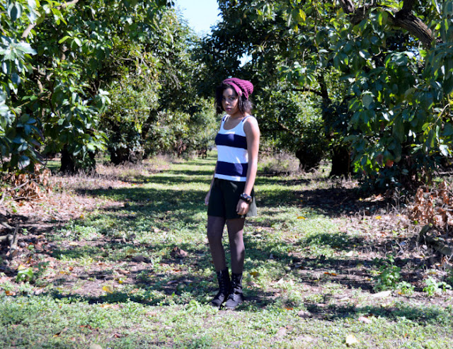 Fashion Blogger Anais Alexandre of Down to Stars in an American Apparel striped tank, vintage olive green suede skirt, burgundy beanie and black combat boots