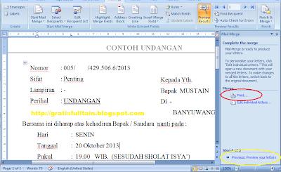 Sobat berakhirlah Cara Membuat Mail Merge dengan MS Word 2007 dan MS