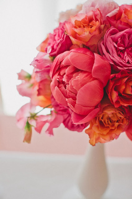 coral and orange peonies arrangement