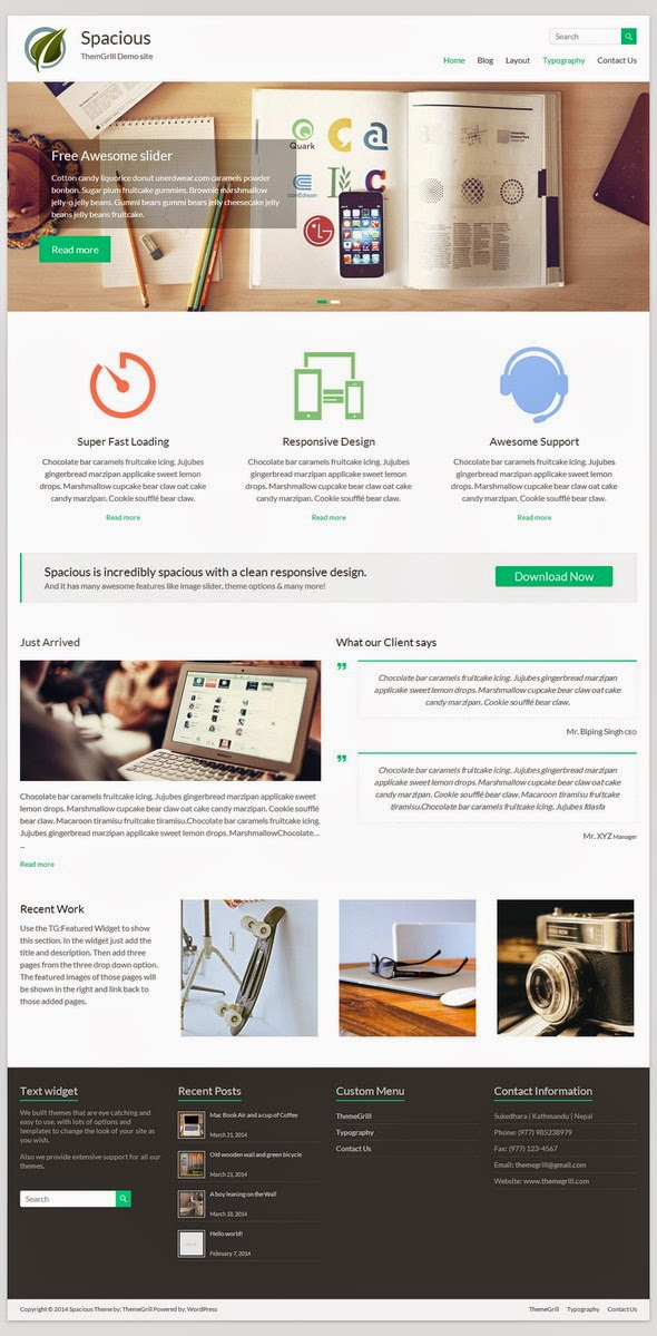 Spacious Free Portfolio WordPress theme