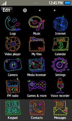 Samsung GT-S8500 Cute Line Theme Free Download Menu
