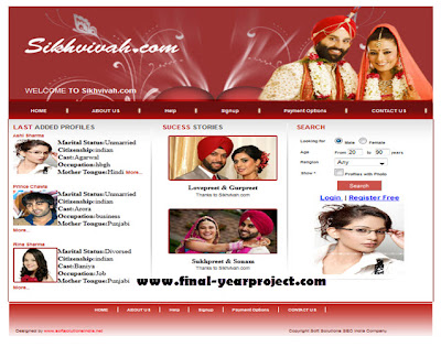 Project on Matrimonial Site