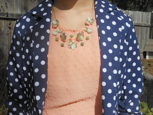 peach dress leopard flats navy polka dot blazer green and peach necklace outfit fall summer transforming