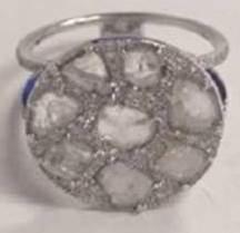 White Gold Sliced Diamond Pave Ring