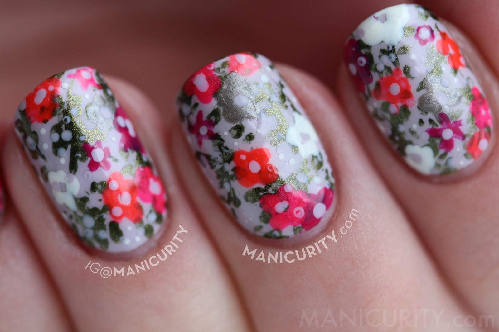 Spring to Summer Floral Neon + Pastel Freehand Nail Art with China Glaze Polishes featuring Light as Air, Agro, Hook and Line, Surfin' For Boys, Fuchsia Fanatic, Love's a Beach on short nails | Manicurity.com
