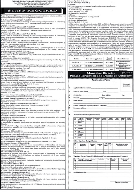 Jobs in Punjab Irrigation & Drainage Authority