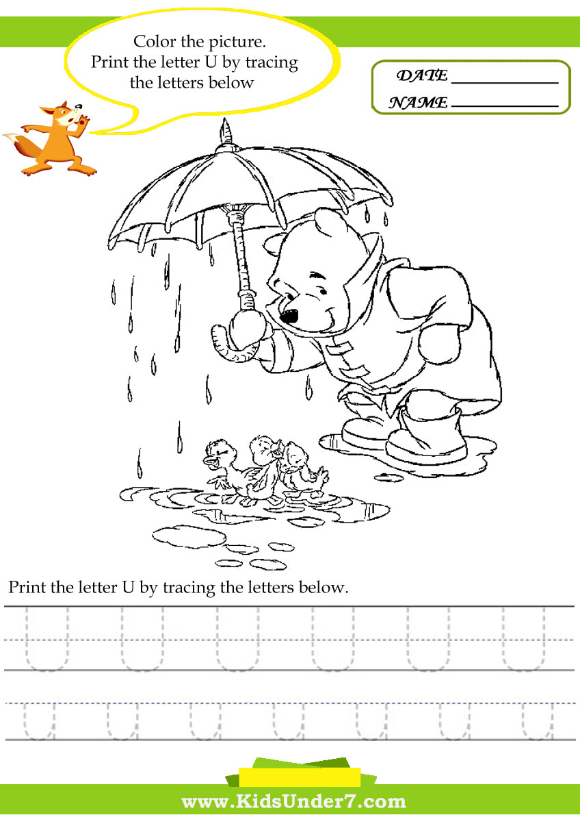 Kids Under 7: Alphabet worksheets.Trace and Print Letter U
