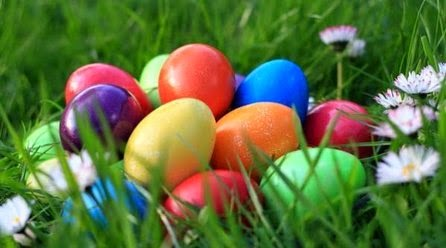 The Easter colorful eggs
