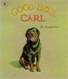 http://www.amazon.com/Good-Dog-Carl-Alexandra-Day/dp/0671752049/ref=tmm_hrd_swatch_0?_encoding=UTF8&sr=1-1&qid=1395944563