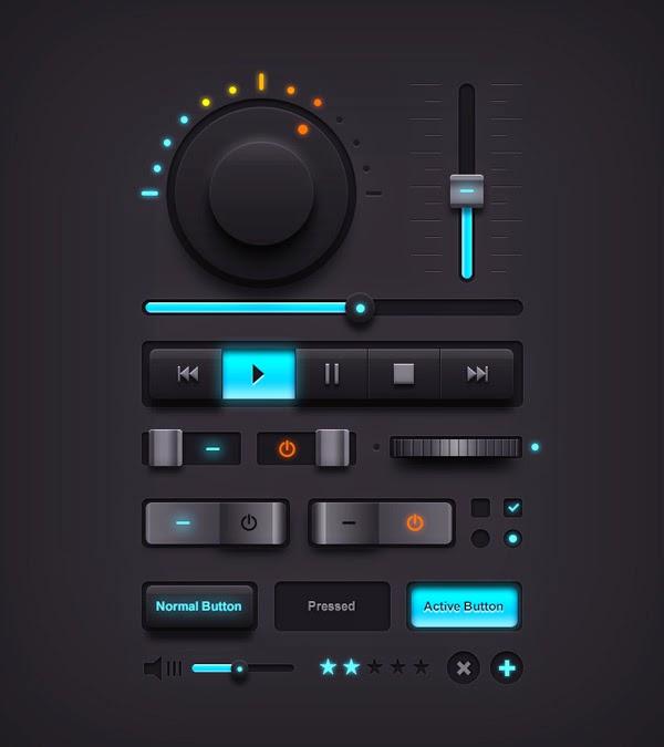 Free Dark Music UI Elements PSD