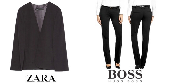 Queen Letizia's ZARA Cape Jacket and HUGO BOSS Taru Trousers