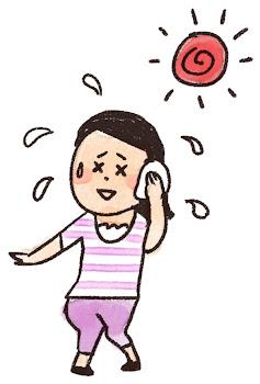 夏バテのイラスト「汗を拭く女性」