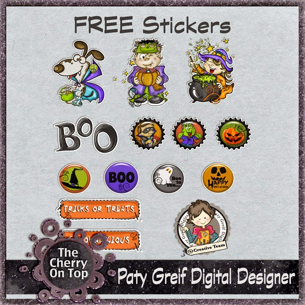 free Halloween stickers from Paty Grief Digital Designer