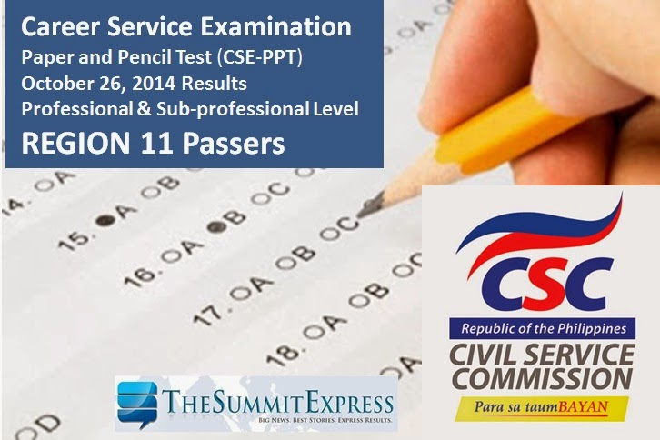 October 2014 Civil Service Exam Results Region 11 Passers