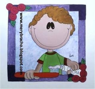 niño con crema y cepillo dental, mural consultorio dental, odontológico.
