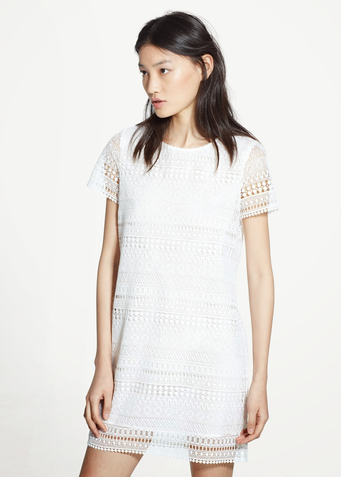 mango white crochet dress,