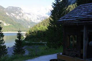 A view from the Inn at Gosau of the Gosausee and the Glacier