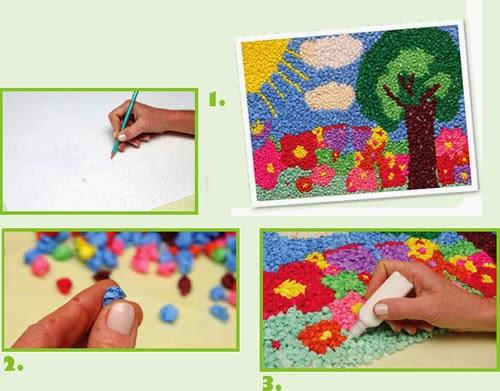 collage para hacer mural de primavera con papel pinocho