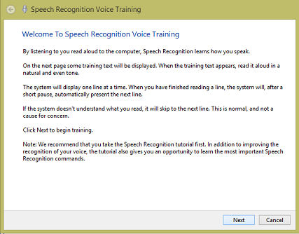 speech recognition voice training