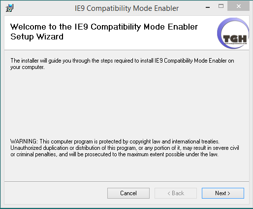 IE9 Compatibility Mode Enabler Screen shot