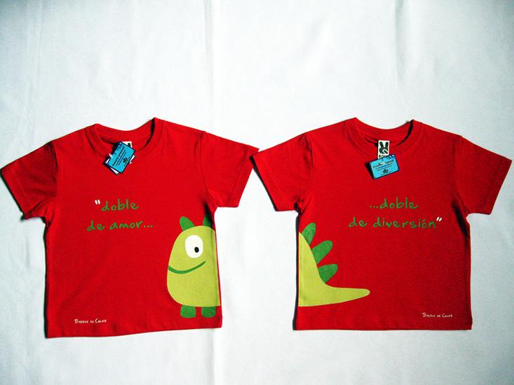 camiseta para gemelos monstruito feliz