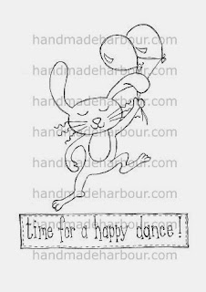 happy dance bunny rabbit digital stamp