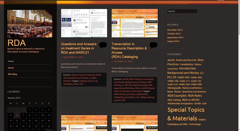 RDA Special Topics & Materials