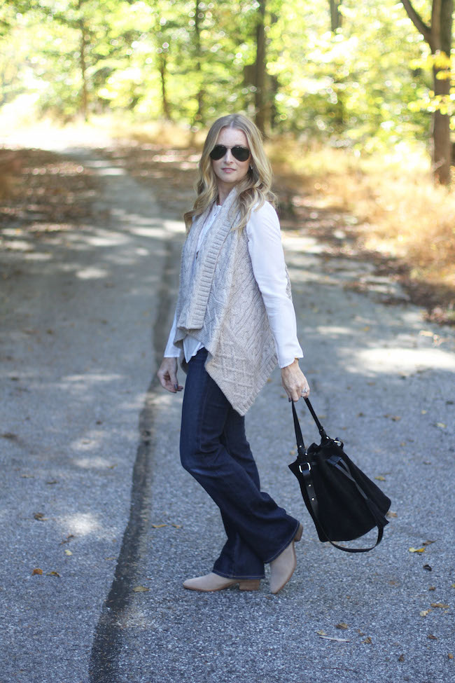 loft sweater vest, AG angelina jeans, dolce vita booties, mango bucket bag