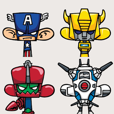 Madl Characters Print Series Batch 2 by MAD - Captain America, Bumblebee, Trap Jaw, & Zentraedi Battlepod
