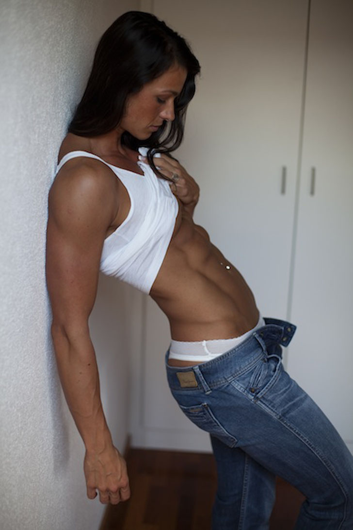 Cindy Landolt Flexes Her Abs And Models Her Muscular Arms
