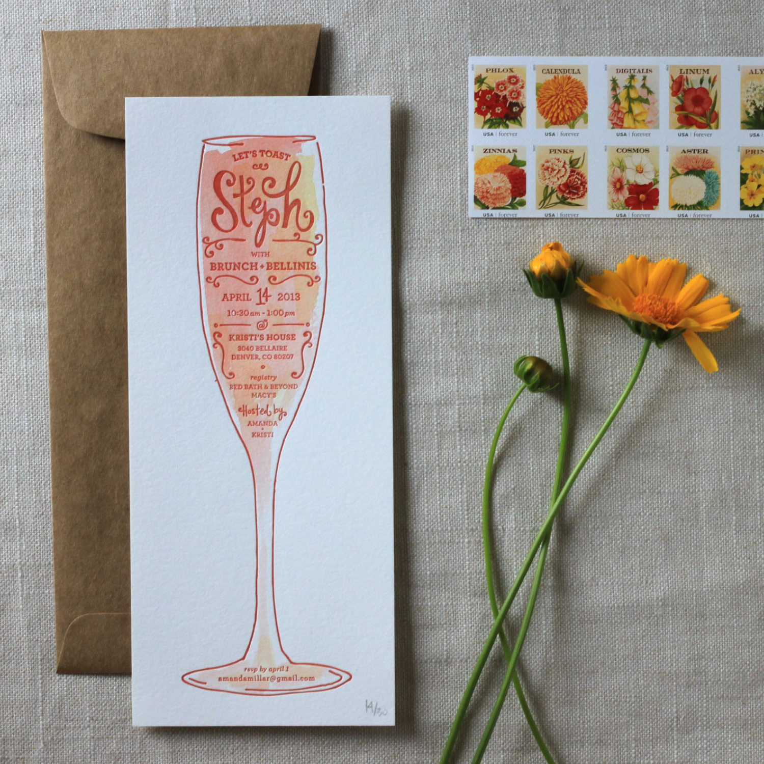 brunch bellinis bridal shower invitation