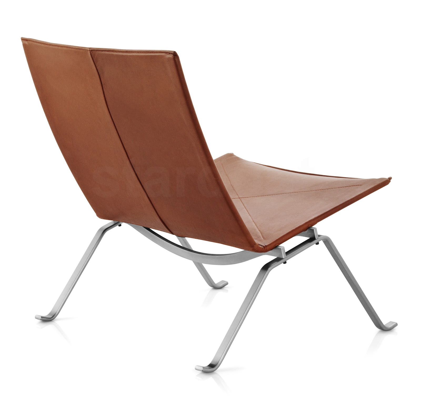 Pk Poul Kjaerholm Leather Pk22 Lounge Chair In Elegance Walnut Leather,  (Color: Brown)