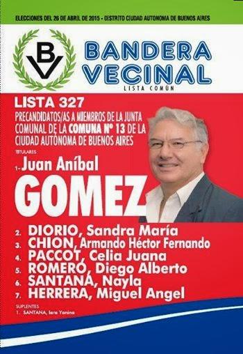 BOLETA OFICIAL COMUNA 13 PARTIDO BANDERA VECINAL LISTA 327
