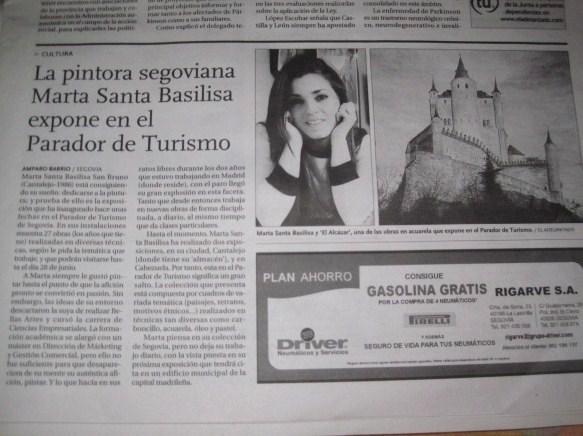 MartaSb en el Adelantado de Segovia expone en el Parador de Turismo de Segovia