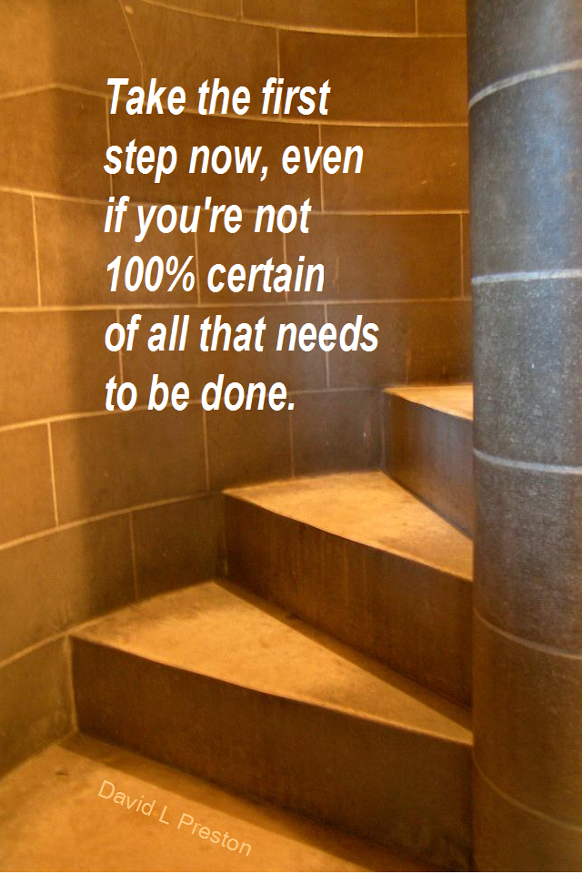 visual quote - image quotation for ACTION - Take the first step now, even if you're not 100% certain of all that needs to be done. - David L Preston