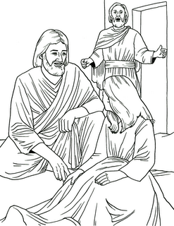 Jesus healing the sick daughter of Jairus coloring pages for childrens and kids
